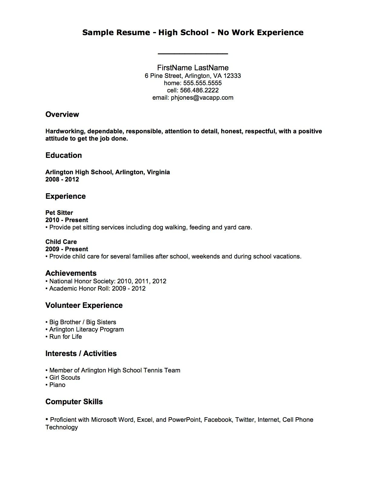 no experience resumes | Help! I Need a Resume, but I Have No