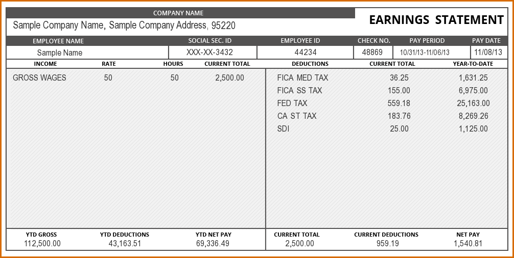 4+ pay stub template excel | Authorizationletters.org