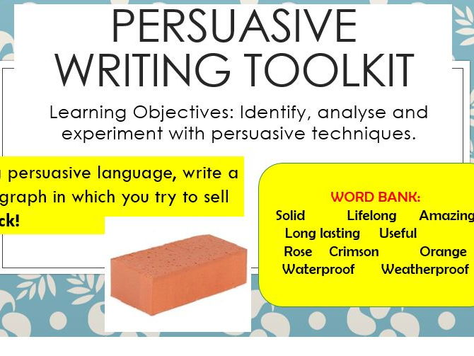 Persuasive Writing Scheme Suitable for Yr 7 8 by