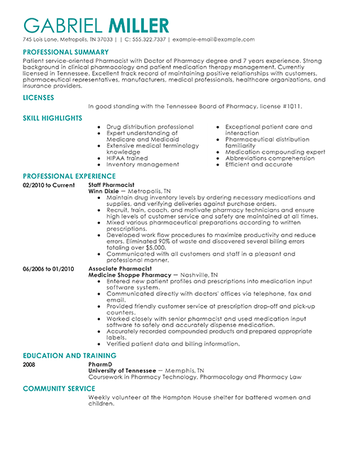 Pharmacist Resume Sample & Template