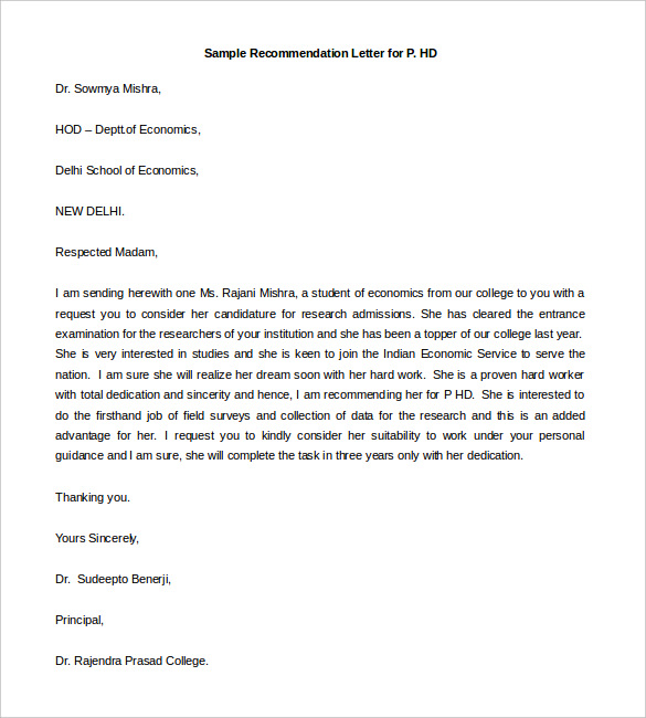 Recommendation Letter Example 27 Recommendation Letter Templates