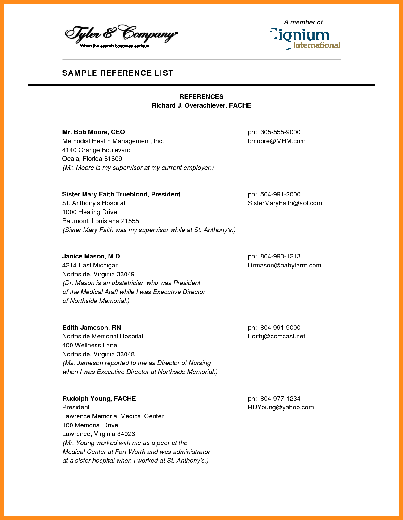 5 List Of References Sample Parts Of Resume Resume Reference List