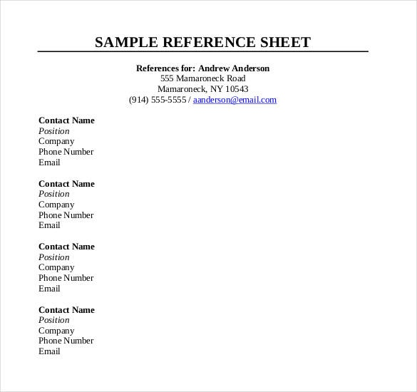 Reference Sheet Template | Template Business In Reference Template
