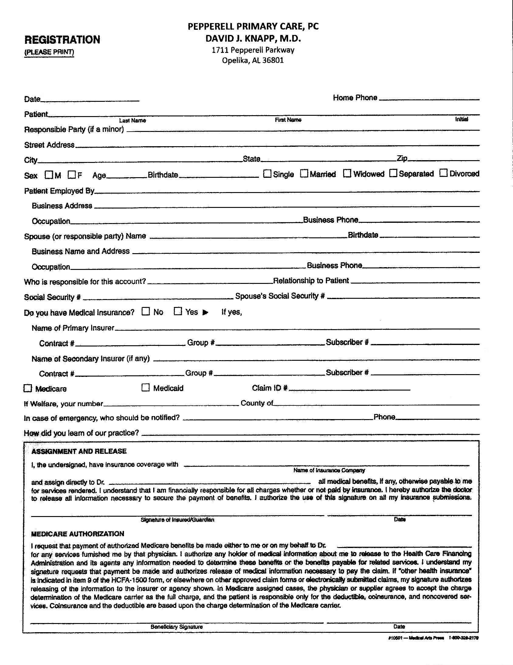 Registration Forms | David Knapp MD