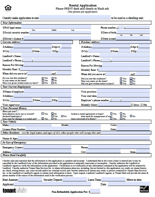 Free Kansas Rental Application Form Pdf Template Rental