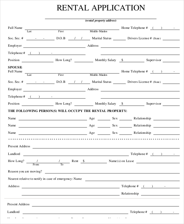 House Rent Application Form Rental Application Templates 10 Free