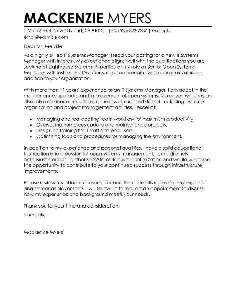 Best IT Cover Letter Examples | LiveCareer