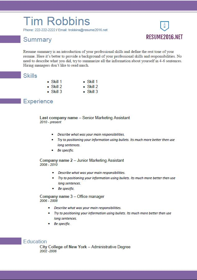 Resume Template 2016 Violette Career Builder Format