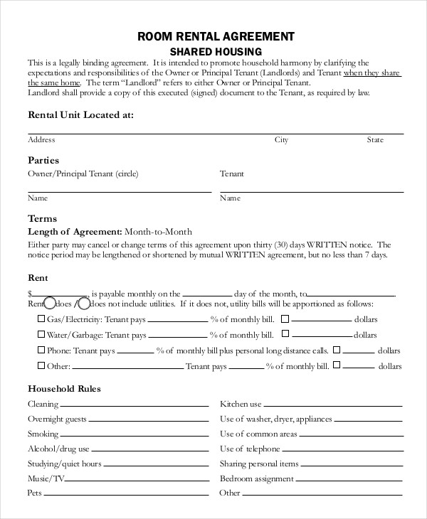 free room rental lease agreement template room lease agreement