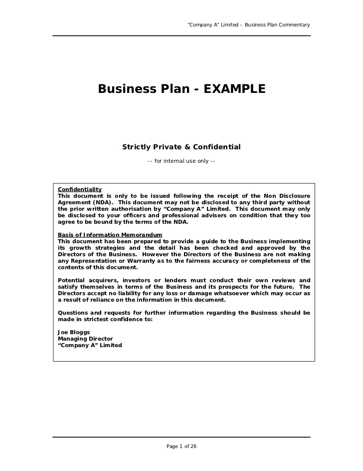 Business Plan Sample Great Example For Anyone Writing a Business Pl…