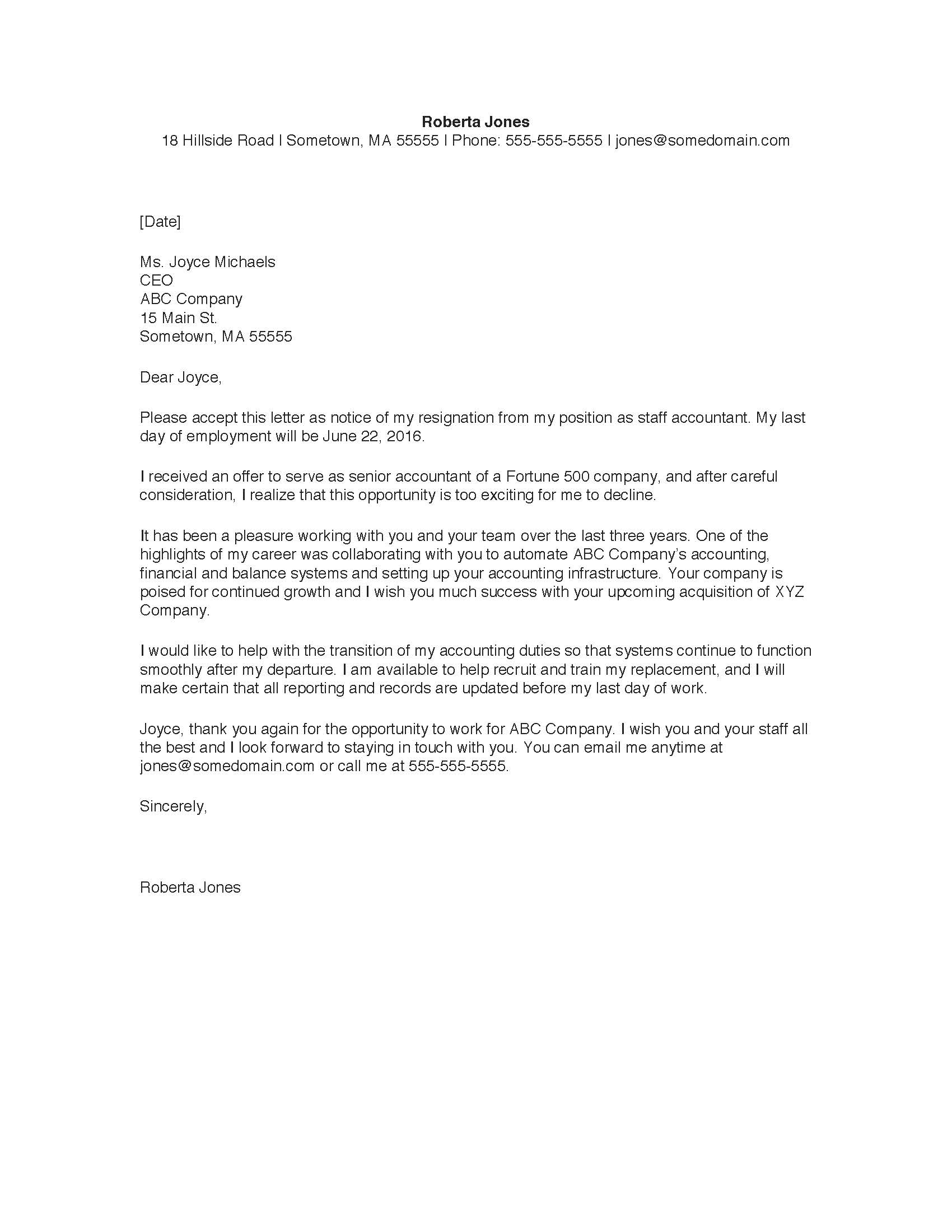 Sample Resignation Letter | Monster.com