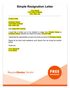 Resignation Letter Samples Free Downloadable Letters