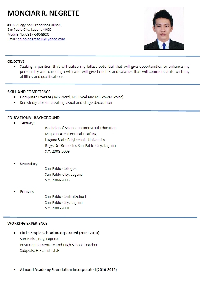 sample resumes format Onwe.bioinnovate.co
