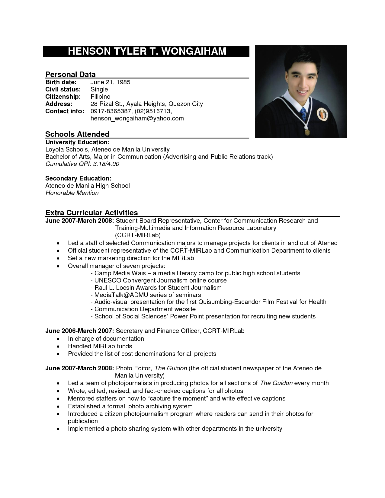 sample resume format images Onwe.bioinnovate.co