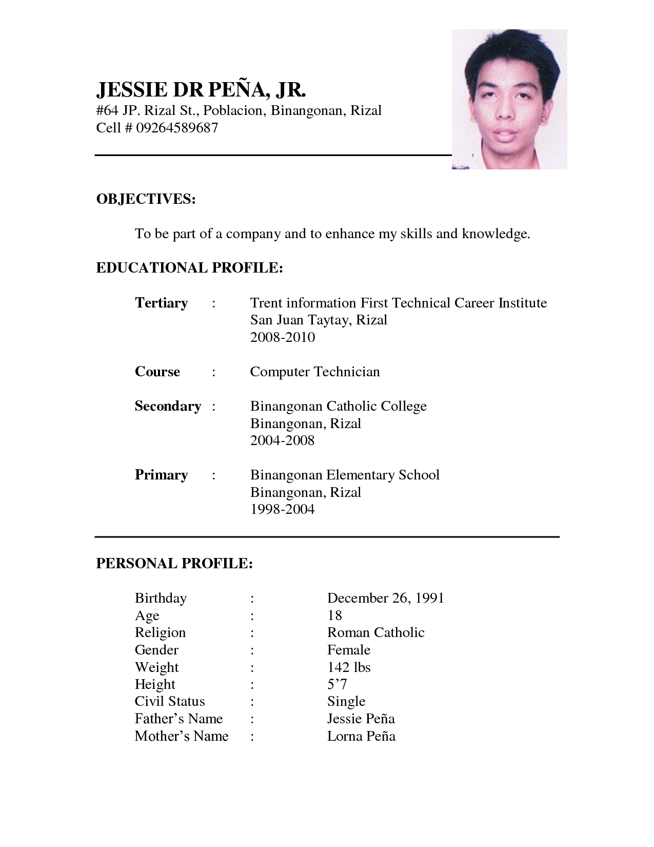 sample of resume format Onwe.bioinnovate.co