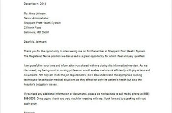 Sample Thank You Letter After Interview Via Email Examples