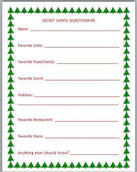 Resource image with secret santa questionnaire printable