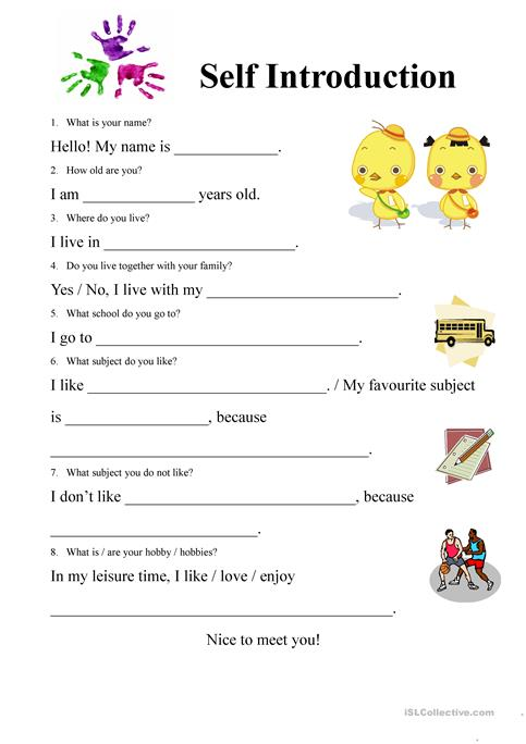 Self introduction Form worksheet Free ESL printable worksheets