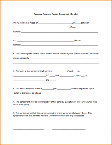 simple one page lease agreement template simple one page lease