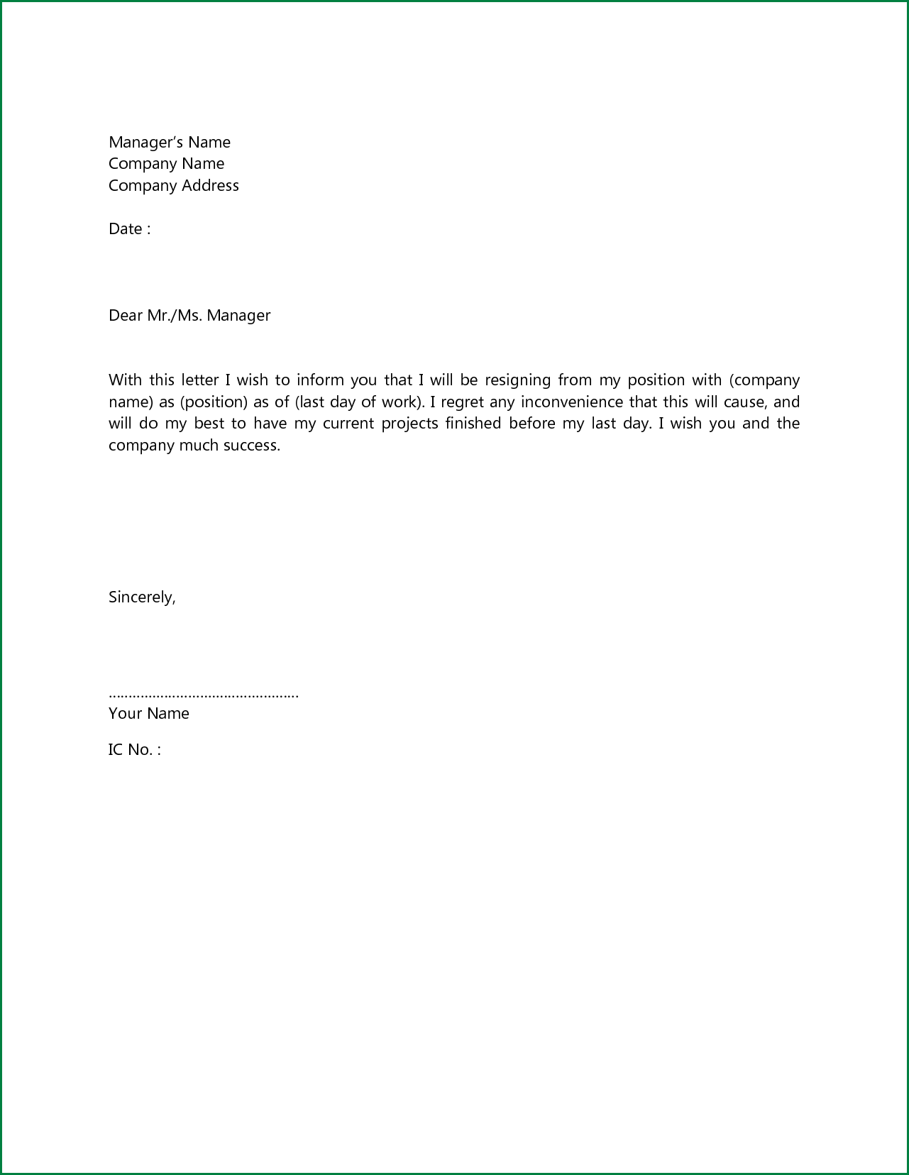 basic resignation letter samples Yeni.mescale.co