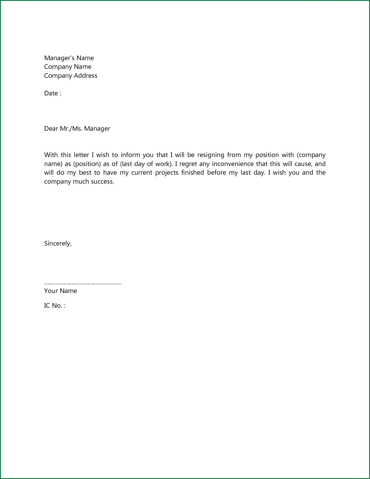 simple resignation letter sample with reason simple resignation letter samples 25394 | simple resignation letter samples examples of resignation letters inspirationa 11 simple and short resignation letter sample of examples of resignation letters