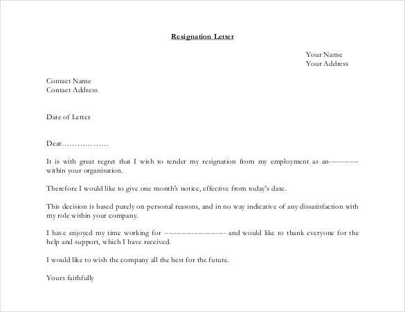 28+ Simple Resignation Letter Templates PDF, DOC | Free