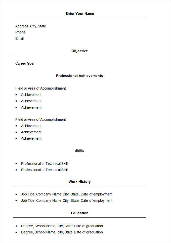Basic Resume Template 70+ Free Samples, Examples, Format