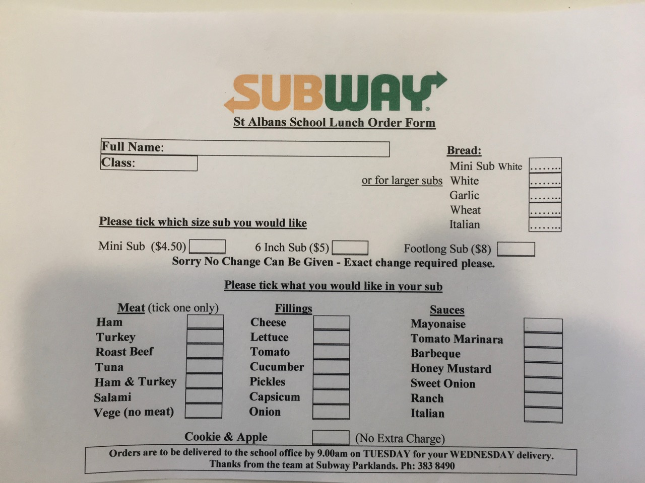 Fillable Online Subway School Order Form Peninsula Montessori