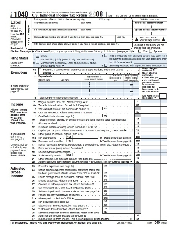 Income Tax Return Form 1040 Income Tax Return Form 1040 Calendar