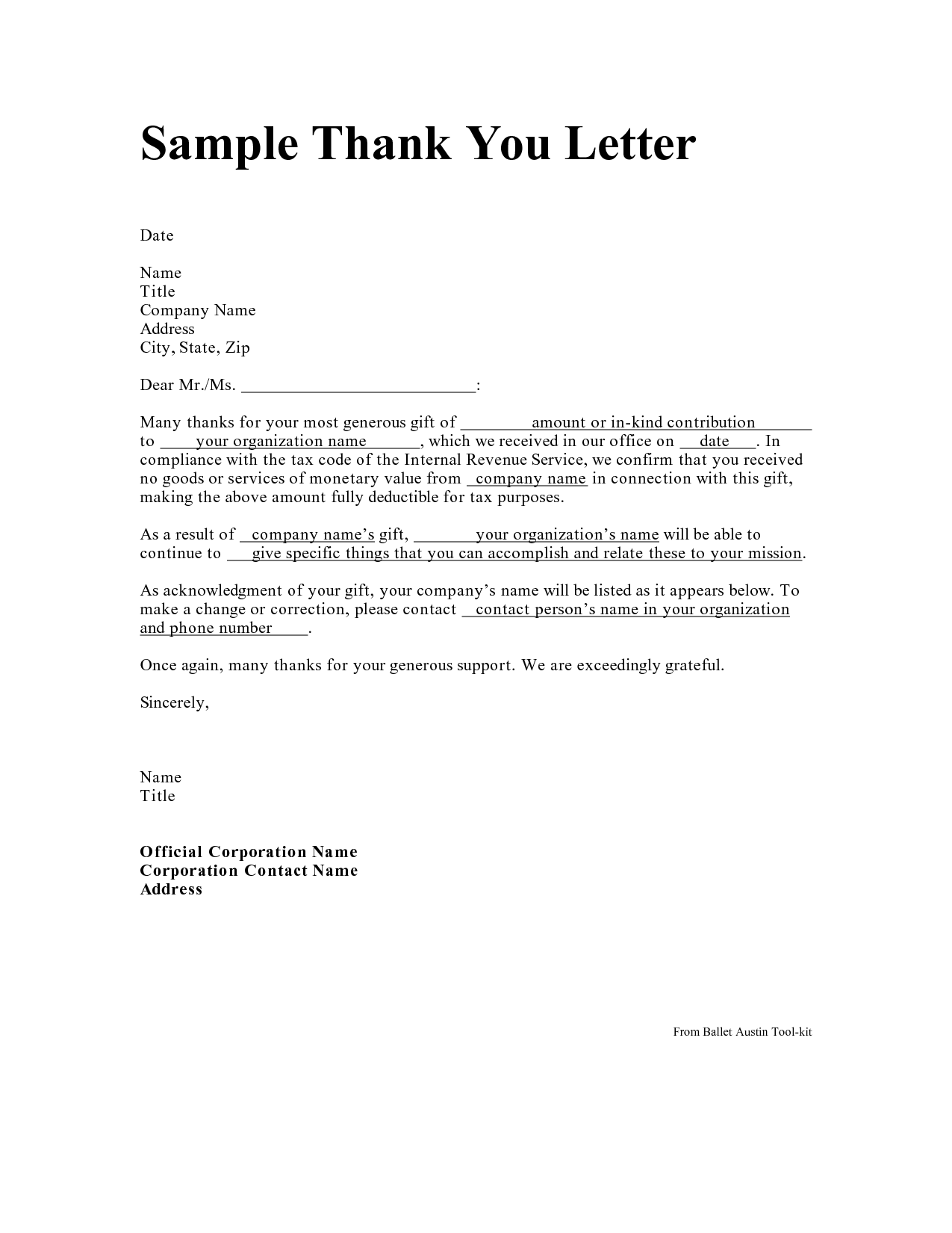 Personal Thank You Letter Personal Thank You Letter Samples