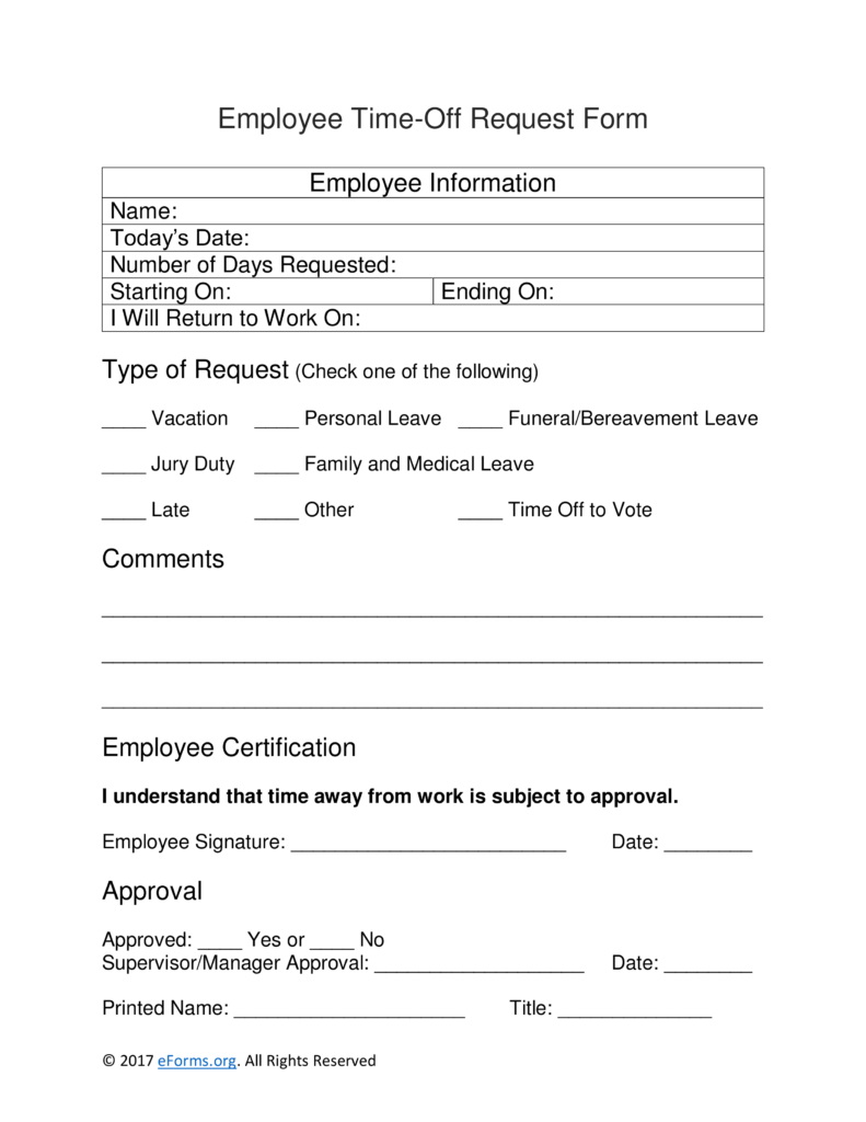 Employee Time Off Request Form | eForms – Free Fillable Forms