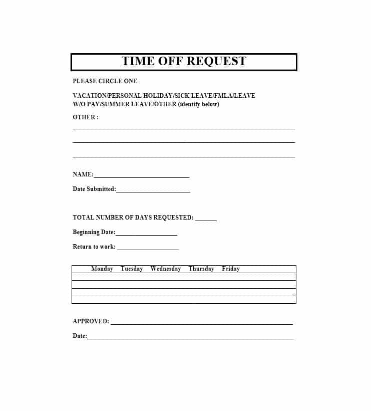 time off request form template 40 effective time off request forms