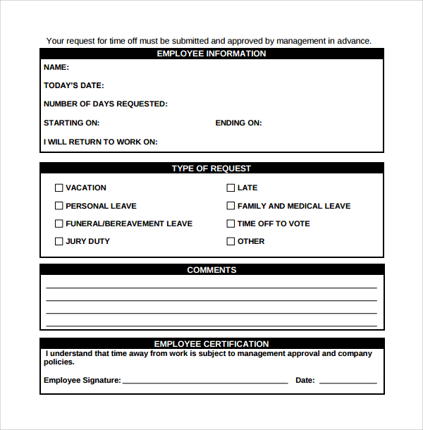 time off request form template sample time off request form 23