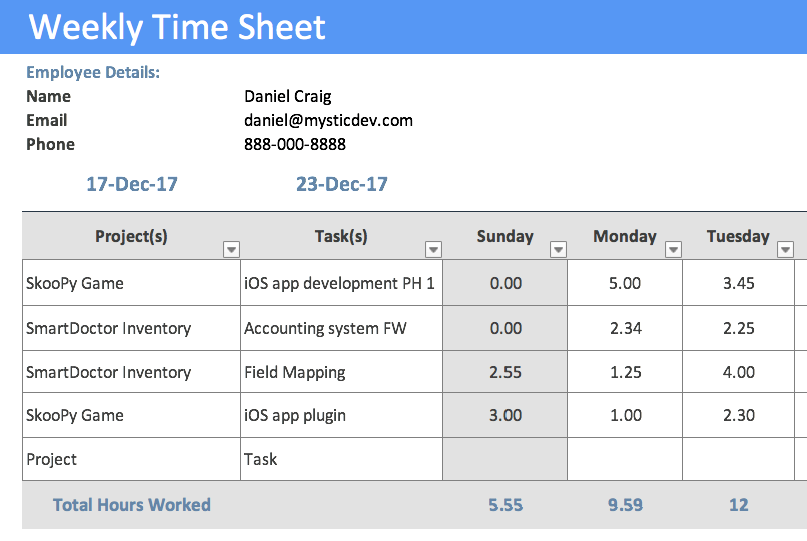 Timesheet Template | Free Timesheet Template | Free Download