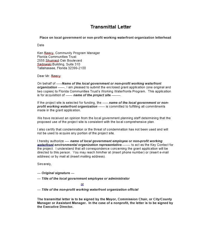 Letter of Transmittal 40+ Great Examples & Templates Template Lab
