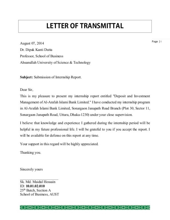 Transmittal Letters