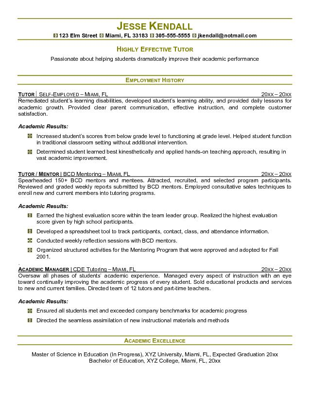 Sample Tutor Resume Template Ppyr.us