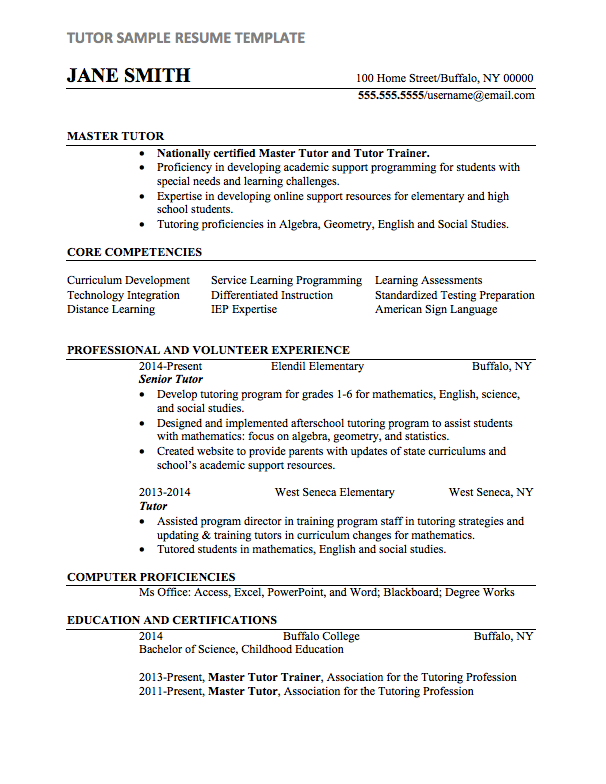 Tutor Resume Sample | Internships.com