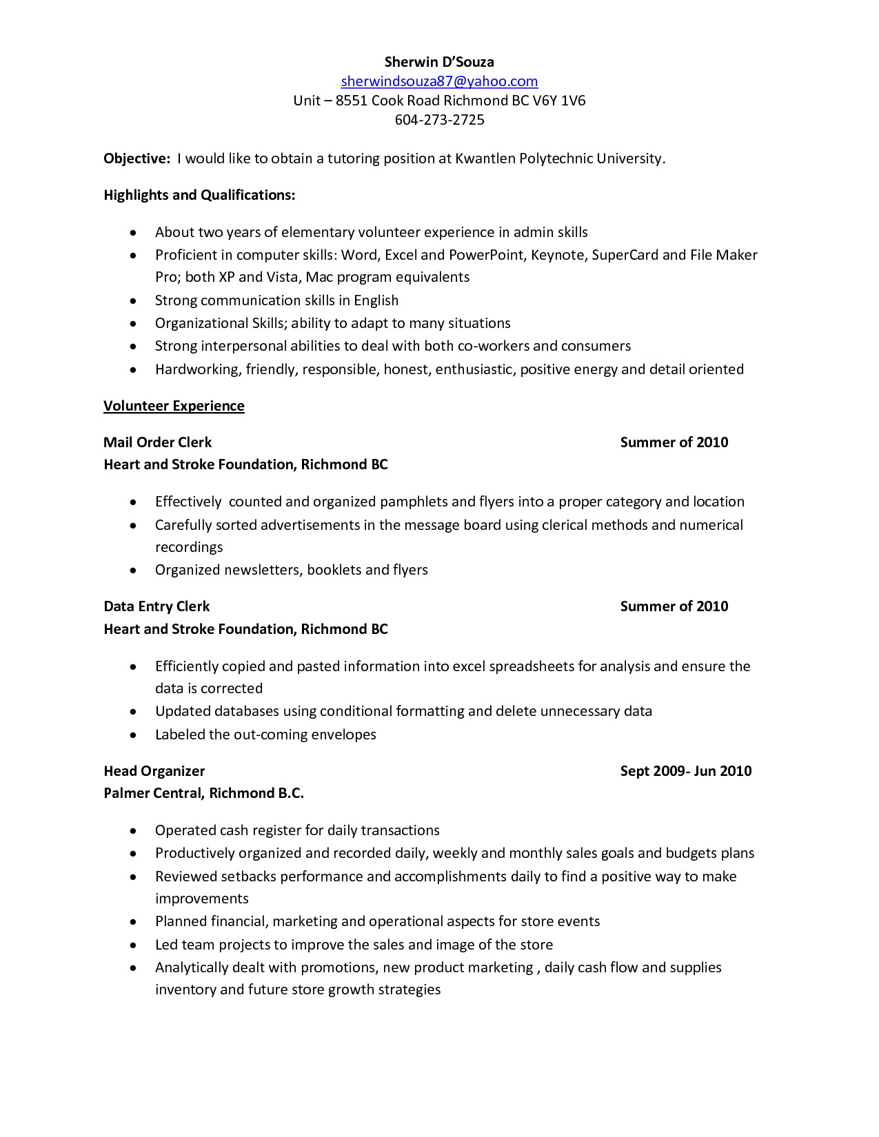 Tutor resume template sample fresh depiction sherwin kpu tutoring