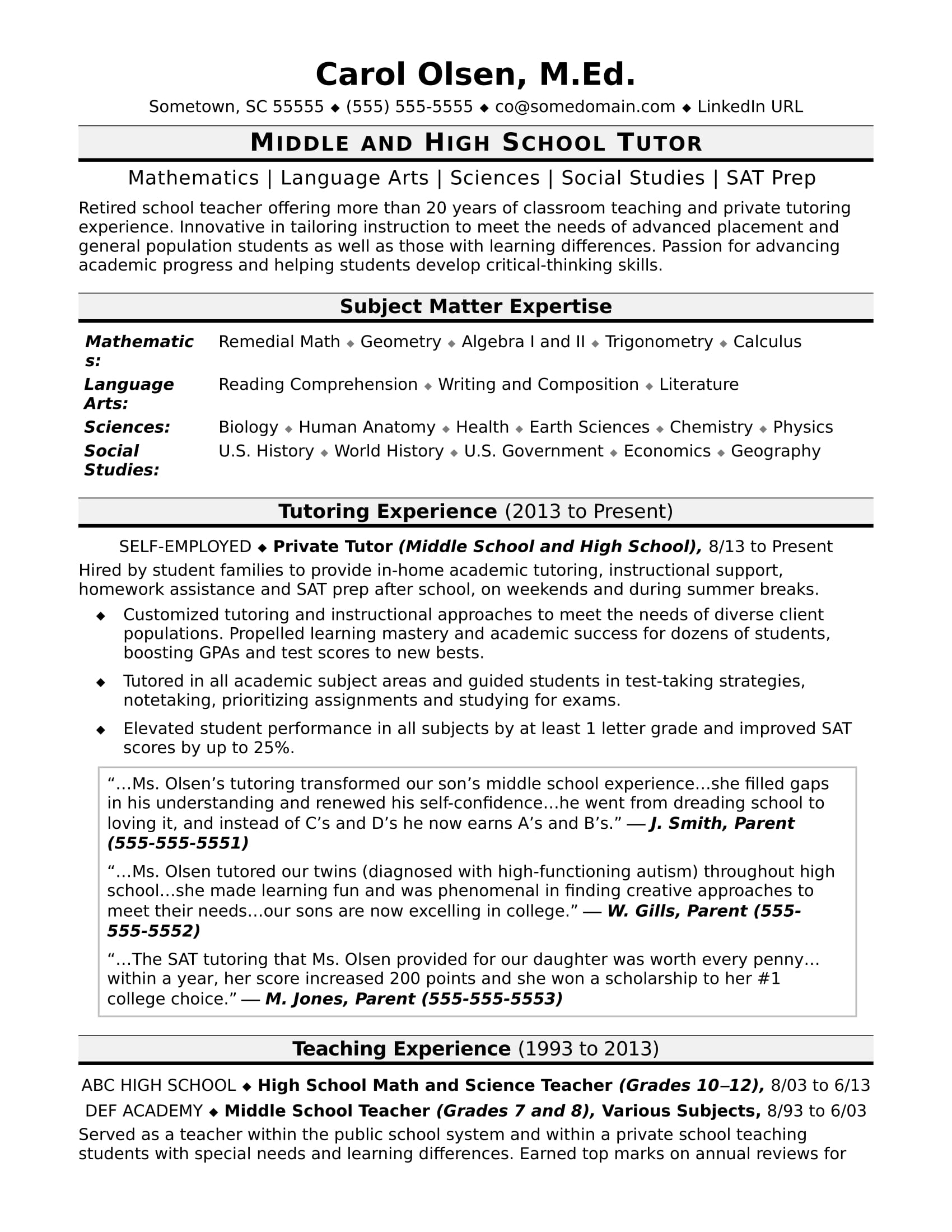 Tutor Resume Sample | Monster.com