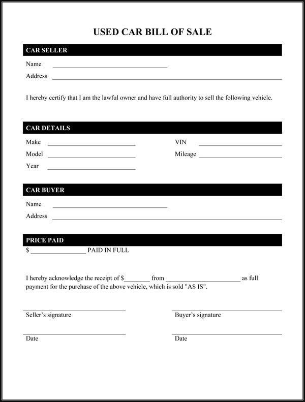used car bill of sale form. printable bill of sale car