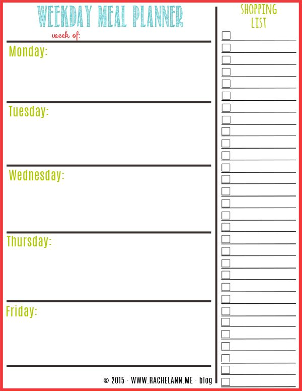 Free Meal Planner | Menu planning, Menu and Template