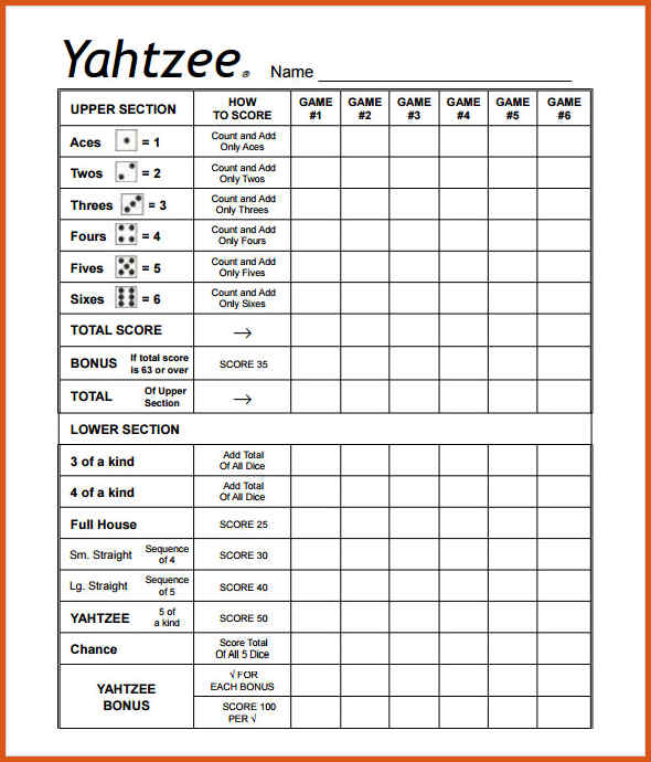 Printable Yahtzee Score Cards Pdf Printable 360 Degree