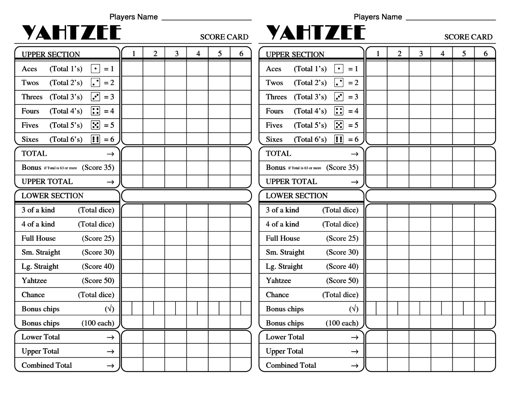 yahtzee score card archives calendar printable with holidays