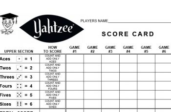 picture regarding Printable Yahtzee Score Sheets Pdf called printable yahtzee ranking card pdf brittney taylor