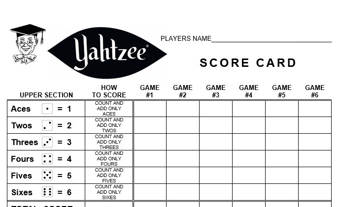 Yahtzee Score Card » linear concepts