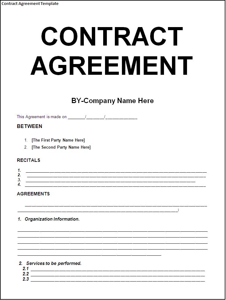 company agreement template sample contract agreement template free