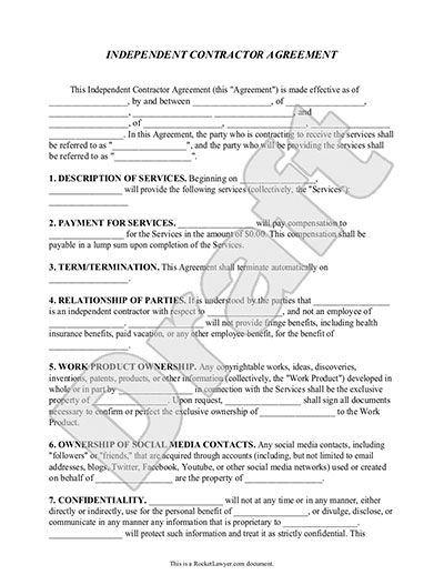 standard contractor agreement template independent contractor