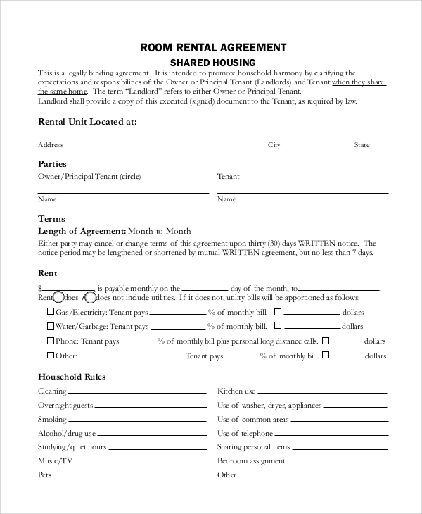 tenancy agreement contract template sample rental agreement