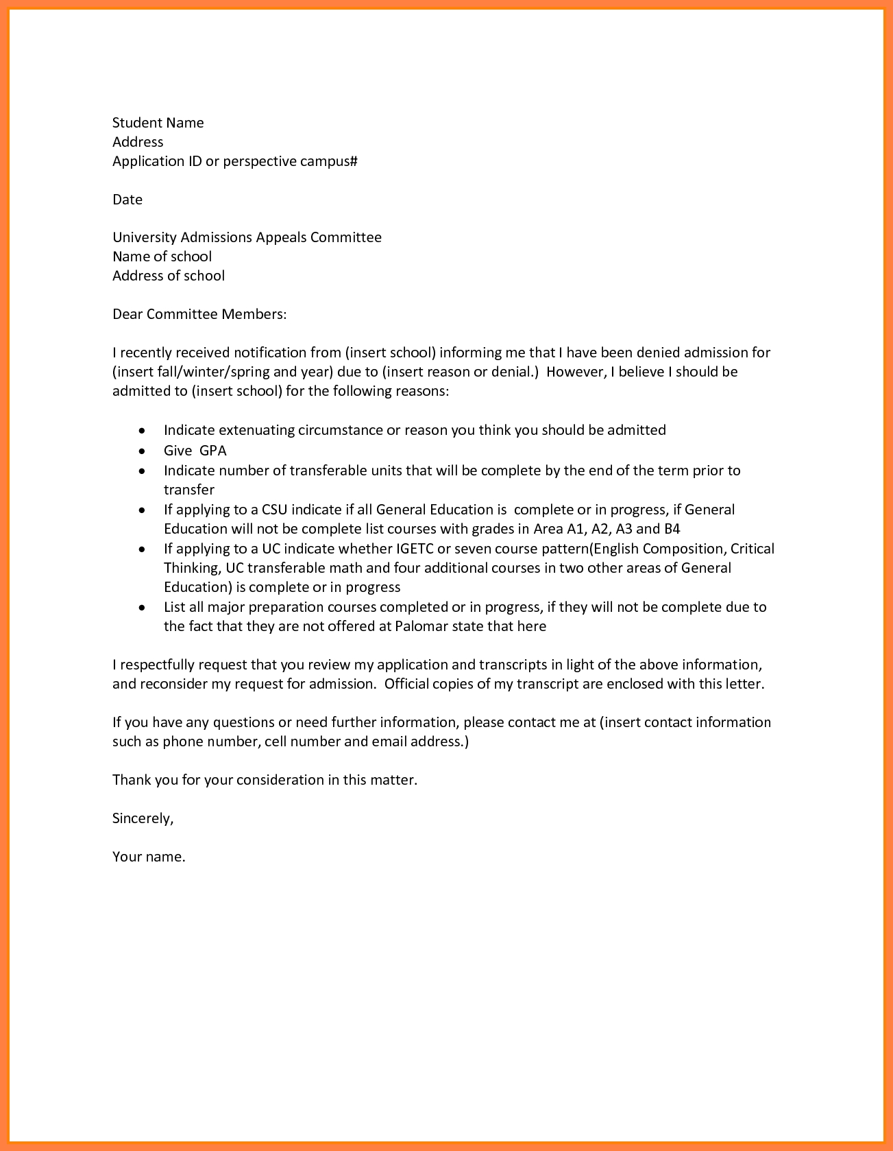 Appeal Letter For College 7 – cool green jobs
